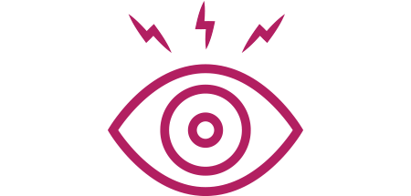 Eye icon with lightning bolts above it indicating signs and symptoms of uveitis